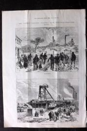 ILN 1880 Antique Print. Leycett Colliery Disaster near Newcastle-Under-Lyne